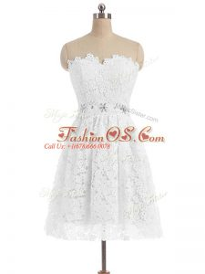 Vintage White A-line Sweetheart Sleeveless Lace Knee Length Zipper Beading and Lace and Appliques Evening Dress