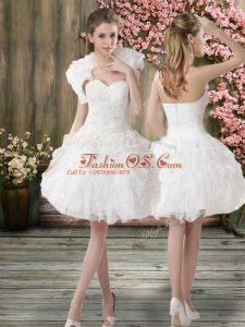 Deluxe White Organza Zipper Wedding Dress Sleeveless Knee Length Beading and Embroidery
