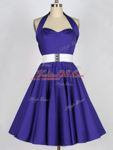 Sophisticated Purple Taffeta Lace Up Bridesmaid Dresses Sleeveless Mini Length Ruching