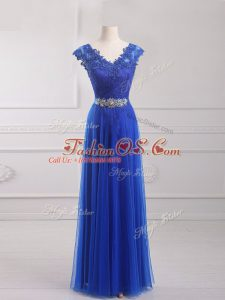 Attractive Royal Blue Empire Tulle V-neck Short Sleeves Beading and Lace and Appliques and Belt Floor Length Lace Up Juniors Party Dress