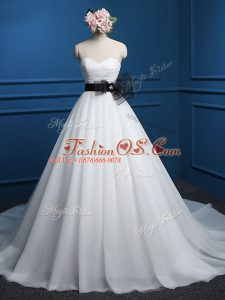 Free and Easy Sweetheart Sleeveless Tulle Wedding Dress Ruching and Bowknot Court Train Lace Up