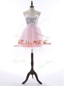 Spectacular Baby Pink Tulle and Sequined Zipper Sweetheart Sleeveless Mini Length Prom Party Dress Sequins and Bowknot