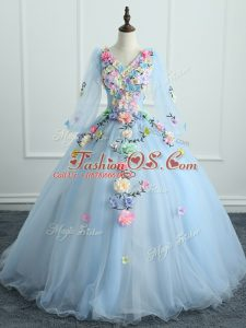 V-neck Long Sleeves Lace Up Sweet 16 Dresses Light Blue Tulle