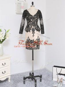 Black Column/Sheath Lace V-neck Long Sleeves Lace and Appliques Mini Length Zipper Mother Of The Bride Dress