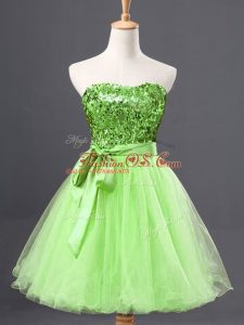 Admirable Sleeveless Sashes ribbons and Sequins Zipper Party Dresses