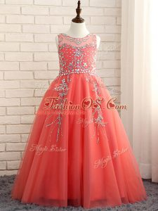 Attractive Sleeveless Floor Length Beading Zipper Girls Pageant Dresses with Watermelon Red