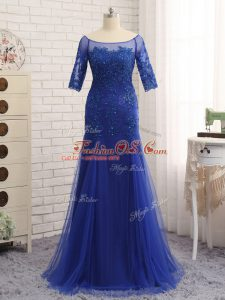 Tulle Scoop Half Sleeves Zipper Lace and Appliques Mother Of The Bride Dress in Royal Blue