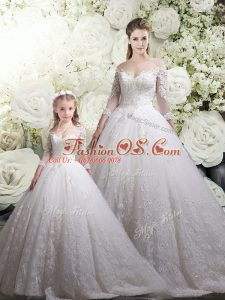 Excellent White Off The Shoulder Zipper Lace Quince Ball Gowns Chapel Train Half Sleeves