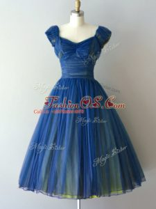 Blue Lace Up Dama Dress for Quinceanera Ruching Cap Sleeves Knee Length