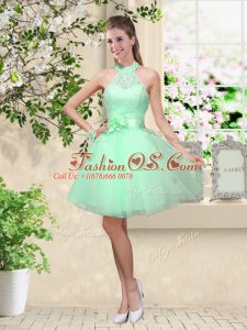 Custom Design Apple Green Halter Top Lace Up Lace and Belt Bridesmaid Dress Sleeveless
