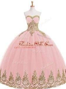 Best Sweetheart Sleeveless Quinceanera Gown Floor Length Appliques Baby Pink Tulle