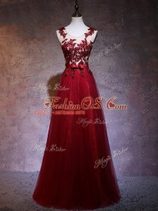 Sleeveless Elastic Woven Satin Floor Length Backless Prom Party Dress in Wine Red with Appliques