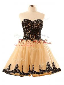 Champagne A-line Tulle Sweetheart Sleeveless Appliques Mini Length Lace Up Military Ball Dresses