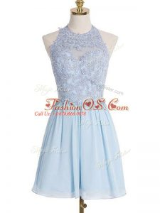 Knee Length Light Blue Bridesmaid Gown Halter Top Sleeveless Lace Up