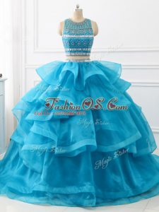 Traditional Scoop Sleeveless 15th Birthday Dress Brush Train Beading and Ruffles Baby Blue Tulle