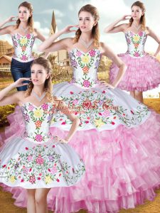 Super Rose Pink Lace Up Sweetheart Embroidery and Ruffled Layers Quinceanera Dress Organza and Taffeta Sleeveless