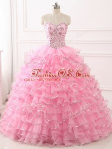 Artistic Baby Pink Ball Gown Prom Dress Military Ball and Sweet 16 and Quinceanera with Beading and Ruffled Layers Sweetheart Sleeveless Sweep Train Lace Up