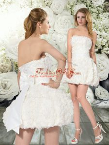 Fabric With Rolling Flowers Sleeveless Mini Length Wedding Gowns and Ruffles and Belt