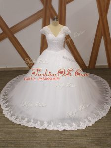 Decent V-neck Short Sleeves Tulle Wedding Dress Beading and Lace and Appliques Chapel Train Lace Up