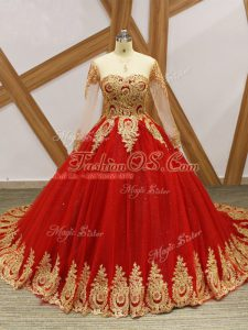 Wine Red Lace Up Quinceanera Dress Beading and Appliques Long Sleeves Court Train