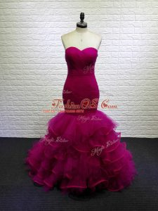 Stylish Fuchsia Sweetheart Lace Up Beading and Ruching Brush Train Sleeveless
