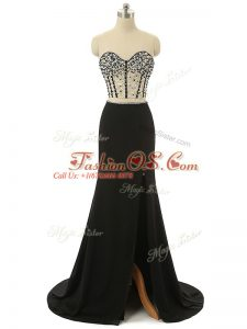 Flare Zipper Black for Prom and Party with Beading Brush Train