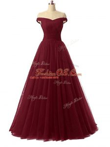 Fine Sleeveless Floor Length Ruching Lace Up Military Ball Gown with Burgundy