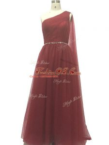 Dynamic A-line Sleeveless Burgundy Teens Party Dress Sweep Train Zipper