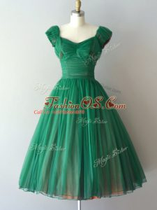 Best Green Bridesmaid Gown Prom and Party and Sweet 16 with Ruching V-neck Cap Sleeves Lace Up