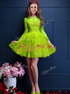 Yellow Green Lace Up Wedding Guest Dresses Beading and Lace and Appliques 3 4 Length Sleeve Mini Length