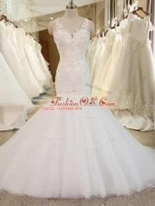 White Bridal Gown Tulle Chapel Train Sleeveless Beading and Appliques
