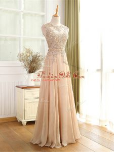 Most Popular Champagne Scoop Neckline Beading and Appliques Homecoming Dress Sleeveless Zipper
