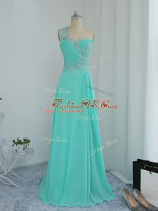 Beading and Appliques Party Dress for Girls Turquoise Zipper Sleeveless Floor Length
