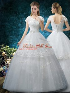Best Selling Floor Length Lace Up Wedding Gowns White for Wedding Party with Embroidery