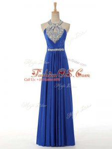 Extravagant Beading and Ruching Going Out Dresses Royal Blue Zipper Sleeveless Floor Length