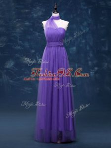 Most Popular Lavender Empire Ruching Vestidos de Damas Lace Up Tulle Sleeveless Floor Length