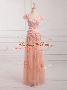 Peach Empire Scoop Cap Sleeves Tulle Floor Length Lace Up Lace and Appliques and Belt Mother Of The Bride Dress