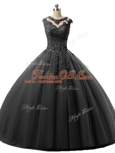 Black Ball Gowns Scoop Sleeveless Tulle Floor Length Lace Up Beading and Lace Vestidos de Quinceanera