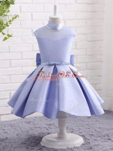 Perfect Knee Length Lavender Girls Pageant Dresses High-neck Cap Sleeves Zipper