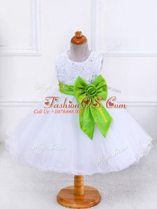 Best White Organza Zipper Little Girl Pageant Gowns Sleeveless Knee Length Bowknot