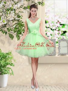Custom Made Tulle V-neck Sleeveless Lace Up Lace and Belt Court Dresses for Sweet 16 in