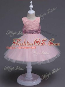 Modern Sleeveless Knee Length Lace and Bowknot Zipper Little Girl Pageant Gowns with Baby Pink
