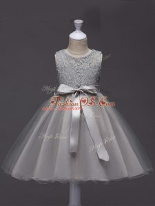 Discount Scoop Sleeveless Child Pageant Dress Knee Length Lace and Belt Grey Tulle