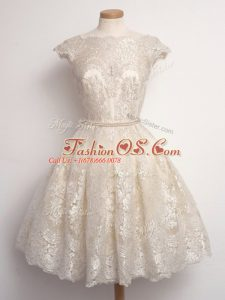 Knee Length Champagne Wedding Party Dress Scalloped Cap Sleeves Lace Up