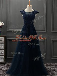 Appliques Dress for Prom Navy Blue Lace Up Sleeveless Floor Length