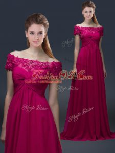 Edgy Fuchsia Lace Up Off The Shoulder Appliques Mother Of The Bride Dress Chiffon Short Sleeves