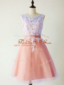 Beautiful Peach A-line Scoop Sleeveless Tulle Knee Length Lace Up Lace Dama Dress for Quinceanera