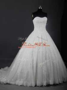 White Ball Gowns Tulle Strapless Sleeveless Beading and Lace Lace Up Wedding Dresses Brush Train