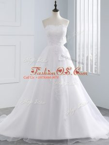 Beautiful White Sleeveless Organza Lace Up Wedding Gown for Beach and Wedding Party