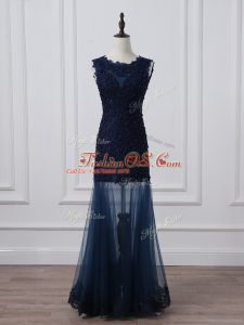 Superior Floor Length Navy Blue Mother Of The Bride Dress Tulle Sleeveless Lace and Appliques